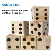 DICE GAME – GIANT WOODEN DICE SET – DICE WITH BAG DICE GAMES KIDS – FAMILY GAMES