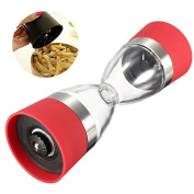 lzn 2 In 1 Manual Salt and Pepper Mill Grinder Spice Jars Pepper Shakers Glass Body with Ceramic Grinder