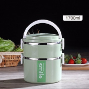 Luckyfree Lunch Boxs 304 Stainless Steel With Compartments Bento Box For Students Adults Children Picnic Food Container,green 2-layer