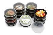 Meal Prep Food Containers with Lids for Lunch , Portion Control and Food Storage - Stackable , BPA free , 1 Compartment , Circular , Freezer , Dishwasher and Microwave Safe - For Adults and Children