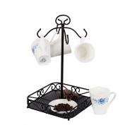 VANRA Steel Coffee Mug Holder 4 Hook Kitchen Stand Organiser Drinkware Rack / Fruit Display Basket Black