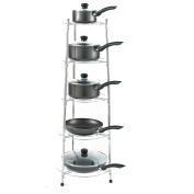 Neotechs® Chrome Five Tier Kitchen Pan Stand Saucepan Pot Rack Storage Stand Holder