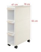Orolay Plastic Storage Trolley with Drawers on Wheels Cabinet Rack with Drawers