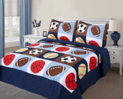 Golden Linens 3 pieces Full Size Quilt Bedspread Set Kids Sports Basketball Football Baseball For Boys & Girls