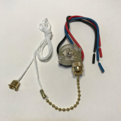 Ceiling Fan Pull Chain Switch Brass 3 Speed Off-On(A)-On(B)-On(A & B) with 15cm Leads