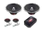 DS18 EXL-SQ6.5C 17cm 2-Way Packaged Component Car Audio Sound Quality Speaker System with 5.1cm X 17cm MID Bass Woofers, 2 X Tetoron Dome Neodymium Tweeters, and 2 X Passive Crossovers