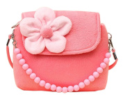 Lumanuby Portable Crossbody Bag Wallets Bags Candy Bags For Baby Kids Girls With Flower And Beads Decoration Plush Surface (Pink) 2017