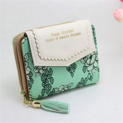 Yeah67886 Women Flower Print Short Card Holder Purse Tassel Zipper Wallet