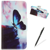 HUAWEI Y6 II Case,HUAWEI Y6 II Wallet Case,MAGQI Premium Flip PU Leather Money Pouch Case Colourful Painting Petals Pattern [Stand Function] [Magnetic Closure] Protective with Card Slots Bult-in Soft Inner Bumper Book Style Cover for HUAWEI Y6 II - Blu ..