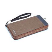 Canvas Men/ Women Zipper Wallet Handbag with 3 Bill Compartments