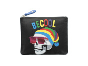 Mala Leather Printed BE COOL SKULL Coin Purse With Keyring 4119_11 Black