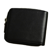 Voguehive Mens Genuine Cowhide Leather Extra Capacity Wallet Metal Zipper With Coin Case
