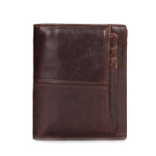 AB Earth Men's High Quality Genuine Soft Leather Two Fold Wallet Zip Coin Pockets With 5 Card Slots And detachable Or Movable Card Pockets.