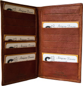 Leather credit card holder – Leather document wallet – Brown/orange - Made in Italy