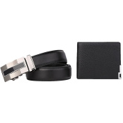 Zhhlinyuan Pack of 2 Great Present Mens Handmade Automatic Belt Waistband & Short Wallet Cowhide Leather