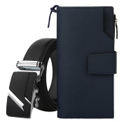 Zhhlinyuan Pack of 2 Mens Casual Style Belt & Handbag Long Wallet Cowhide Leather