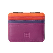 DUDU Magic Wallet for men Coloured Slim in Genuine Leather Multicolor with 6 Credit Card holder slots Fuchsia