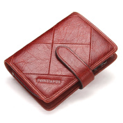 Contacts Mens Genuine Leather Bifold Trifold Card Holder Zipper Coin Purse Wallet Red