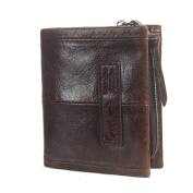 Contacts Vintage Genuine Leather Mens Zipper Coin Pocket Card Holder Purse Short Wallet Dark Brown
