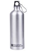 Mountain Warehouse Water Bottle - 1 Litre - Camping Metallic Aluminium Drinking Drinks Flask + Karabiner