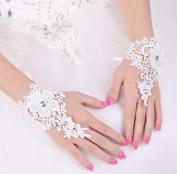 The Bride Marriage Dress Lace Rhinestone Short Gloves Wedding Gloves Mitten White