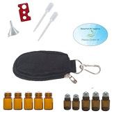 Essential Oil 10 Bottle Keychain Carrying Case, Roller Bottles and Euro Orifice Reducer Bottles, Bottle Opener, Funnel, Pipettes