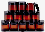 Vivaplex, 12, Amber, 120ml, Round Glass Jars, with Inner Liners and black Lids