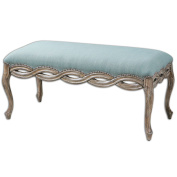Uttermost Kylia Sky Blue Bench with Seats Accented By A Scalloped Edge With Antique Bronze Nails