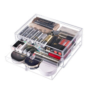 CICI & SISI Triple Drawers Beauty Clear Acrylic Cosmetic Make Up Display Stand with Non-Slip Design, 3 Drawers