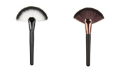 Healthcom 2 Pcs Large Face Fan Brushes Professional Makeup Brushes Tools Blush / Powder Sector Face Brushes Face Powder Cosmetic Brush
