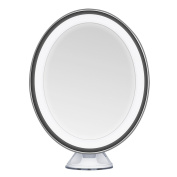 KEDSUM Oval Shaped 7X Magnifying LED Lighted Makeup Mirror, Daylight Travel Vanity Mirror with Strong Suction Cup,360 Rotation,Compact,Cordless,Battery Operated,Illuminated Bathroom Mirror