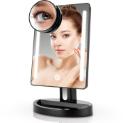 Miusco Lighted Makeup Mirror with 15X Magnification Suction Cup Pocket Mirror, Rectangle, USB and Battery Operated, Black
