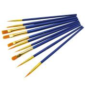 ZHOUXINXING 10Pcs/Set, Nylon Hair blue Wood Rod Painting Brush Drawing Art Supplies