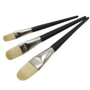 ZHOUXINXING 3Pcs/Set, Bristles Hair yellow Wood Long Rod Big acrylic brush Drawing Art Supplies