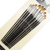 9 Pieces Artist Paint Brushes Nylon Angled Flat Paint Long Handle Value Set for Oils, Acrylic, Gouache & Watercolour Painting-Lightwish