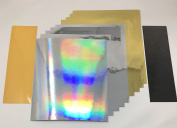 Qbc Craft 12x10 Gold Silver Mirror, Holographic Rainbow & Reflective Permanent Vinyl 11 Sheets Assorted for Cricut Expression Explore Silhouette Cameo make Adhesive Backed Vinyl Decals Signs