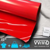VViViD HTV Red 30cm x 0.9m (90cm ) Iron-on Heat Transfer vinyl film