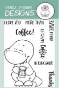 Coffeesaurus Clear Stamp Set 7.6cm x 10cm