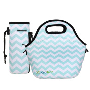 Kaptron Neoprene Lunch Bag, Thick insulated tote Lunch Box Bag with Shoulder Straps and Bottle Holder/Cover for adults, women, girls, school children - Suitable for Travel, Picnic, Office