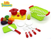 Shop & Cook Kitchen Playset - The Ultimate Cooking Toy Set with Toy Vegetables and Cooking Equipment by Little Treasures