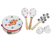 Time2Play Wooden Musical Instrument Set for Babies, Children & Toddlers – Includes 2 Maracas, 1 Tambourine, 2 Castanets, 1 Hand Bell – Perfect Music Kit to Create a Wonderful Family Band