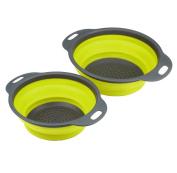 XXYsm 2pcs/set Silicone Collapsible Colander Fruit Vegetable Strainer