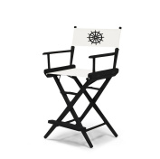 Telescope Casual World Famous Counter Height Director Chair, Black Finish with Marine White and Black Motif Cover