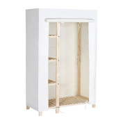 Tidy Living - Natural Wood Wardrobe - 4 Shelf Garment Rack With Canvas Cover