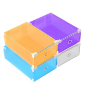ONEDONE Foldable Plastic Shoes Boxes Container with Drawer for Shoes Closet Organisation,Set of 4