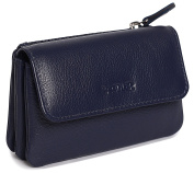 SADDLER Womens Nappa Leather Triple Gusset Coins Key Flap Purse - Peacock Blue