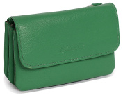 SADDLER Womens Leather Triple Gusset Coins and Key Flap Purse - Jelly Bean Green