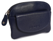 SADDLER Womens Leather Zip Top Coins Key Purse Front Flap Pocket - Peacock Blue