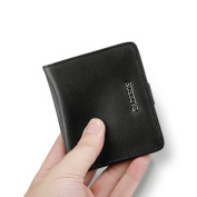 Padieoe Mens Luxury Soft Tanned Leather Bifold Wallet With Zip Coin Pocket Black