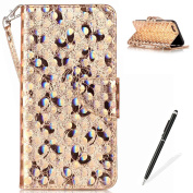 iPhone 6 Plus/6S Plus Wallet Case,MAGQI Luxury PU Leather Case Laser Carved Technology Butterfly Series Design [Card Slots & Money Pocket] Magnetic Closure Stand Function Slim Fit Protective Flip Book Style Cover with Detachable Hand Strap + Free Stylu ..